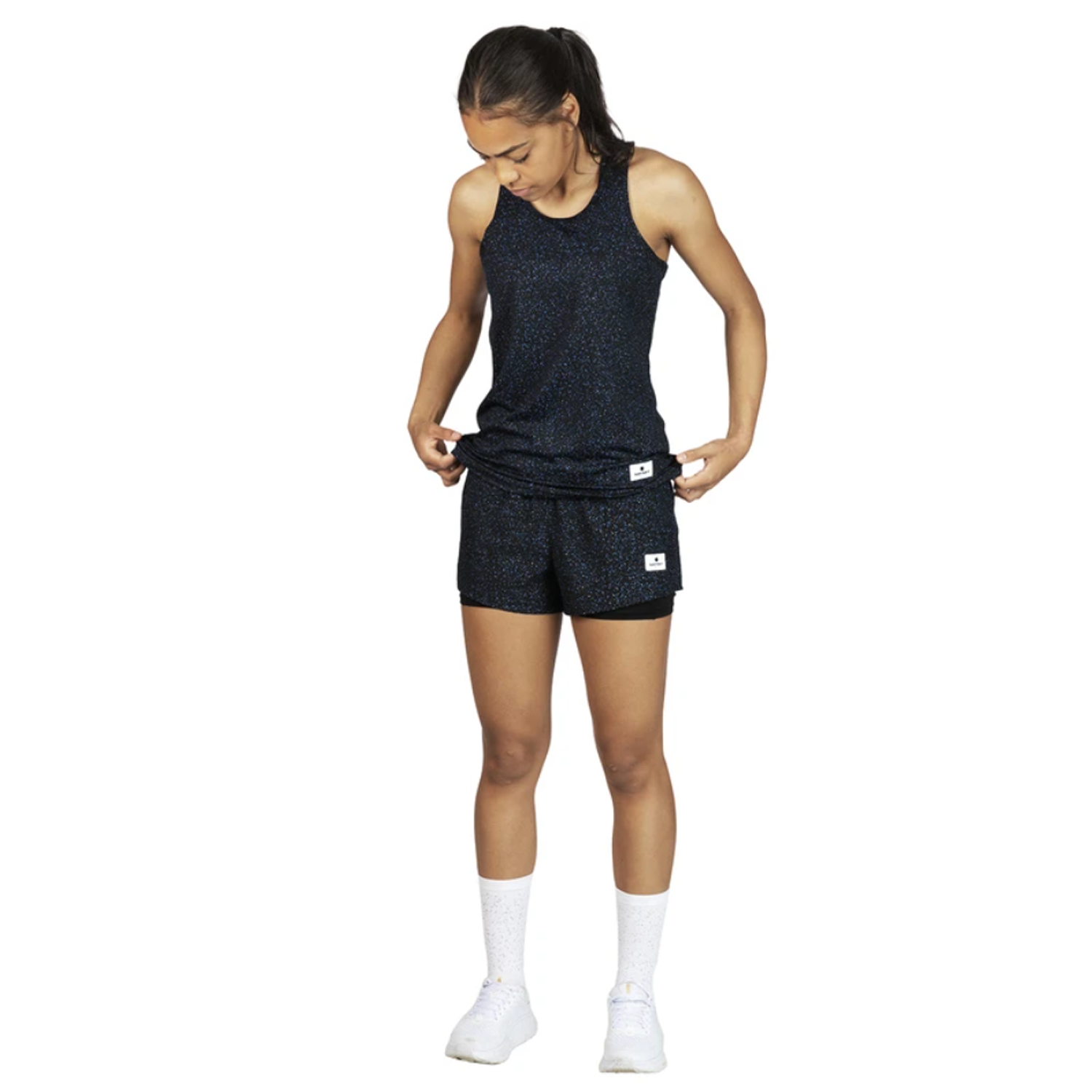 saysky women's running shorts that is light and comfortable in black color